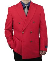 Vittorio Mens Red Double Breasted Blazer Brass Buttons Z76B