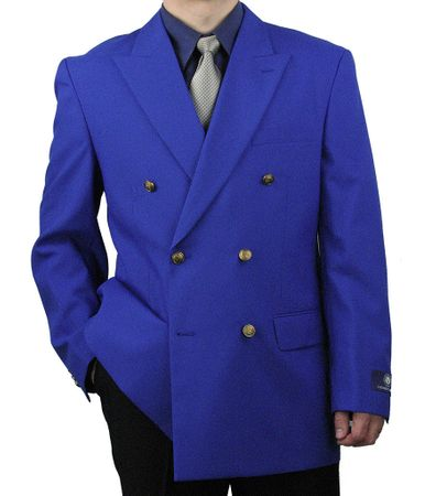 Vittorio Mens Royal Blue Double Breasted Classic Blazer Z76B