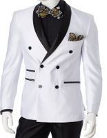 Slim Fit Tuxedo Mens White Double Breasted Suit Vittorio S6506DB