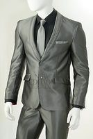 Vittorio Slim Fit Suit Shiny Gray S61SC Size 40 Short, and 40 Long Final Sale