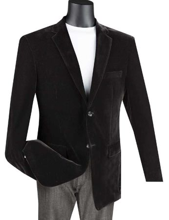 Velvet Blazer Mens Black 2 Button Vinci B-27