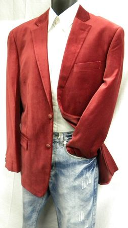 Vittorio St. Angelo Mens Burgundy Velvet Blazer 2 Button  Z822GA Size 44 Long Final Sale