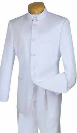 Mens White Nehru Chinese Collar Suits By Vinci 5 Button 5HT