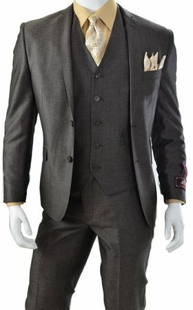 Vittorio St. Angelo Three Piece Slim Fit Style Suit Brown Heather T62LU - click to enlarge