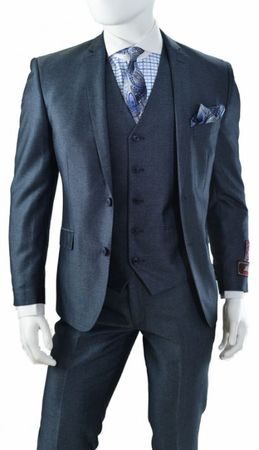 Vittorio St. Angelo 3 Piece Slim Fit Suits Navy Heather T62LU - click to enlarge