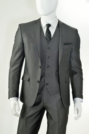Vittorio St. Angelo Slim Fit Young Man Suits Solid Texture Charcoal T62LU - click to enlarge