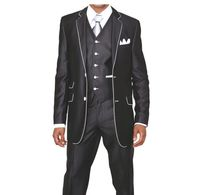 Slim Style Suit by Milano Moda Mens Black Shiny 3 Piece 5702V1