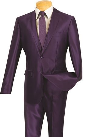 Vinci Men's Shiny Purple Slim Fit Suit Skinny Style S2RK-5