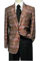 Pronti Mens Red Shiny Swirl Pattern Fashion Blazer 6132