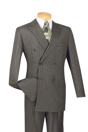 Double Breasted Gangster Suit Charcoal Gray Stripe Vinci DSS-4