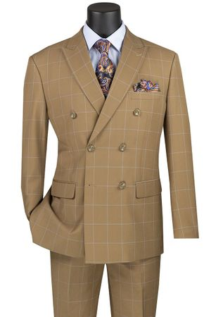 Double Breasted Suit for Men Modern Fit Camel Windowpane Vinci MDW-1