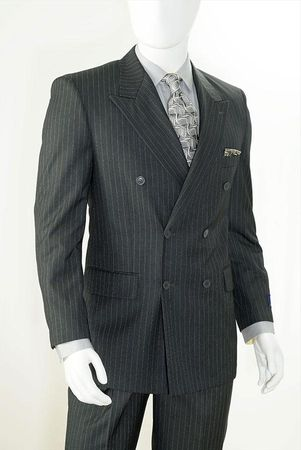 Double Breasted Grey Pinstripe Suit B662TRS Size 44R, 54L Final Sale