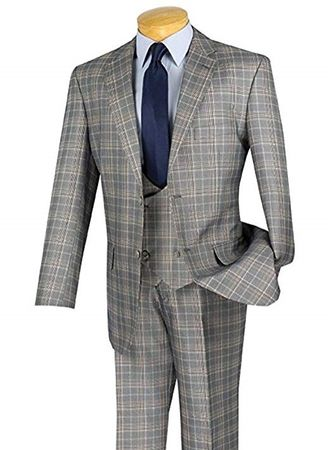 Mens Gray Plaid 3 Piece Suit Fancy Vest Vinci V2RW-7
