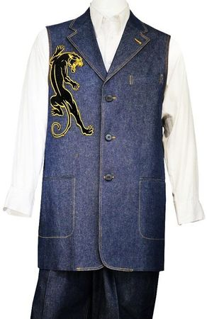 Canto Mens Blue Panther Embroidered Pattern Denim Long Vest Outfit 9083