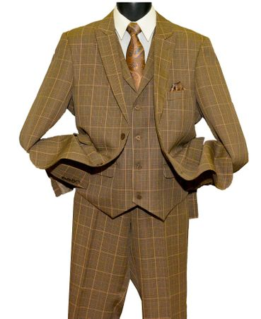 Blu Martini Camel Color Plaid Jett Vest 1920s Fashion Suit 3755-068 OS - click to enlarge