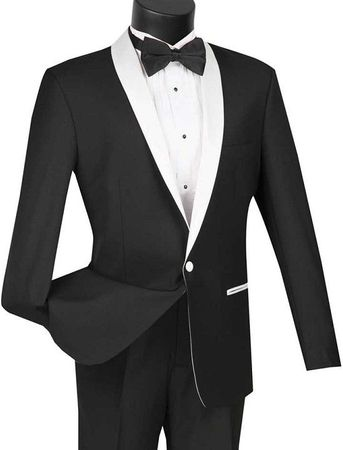 Slim Fit Tuxedo Mens Black White Lapel Jacket 1 Button VINCI S1SH-2