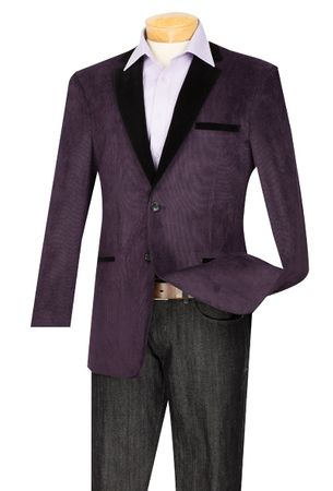 Vinci Purple and Black Velvet Collar Corduroy Blazer B-24(IS)