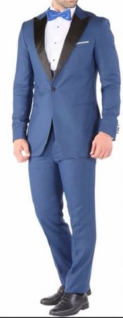 Ferrecci Slim Fit Prom Tuxedos for Men Indigo Blue Peak Lapel Luna