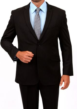 Tazio Men's Solid Black Slim Fit Suit M139S