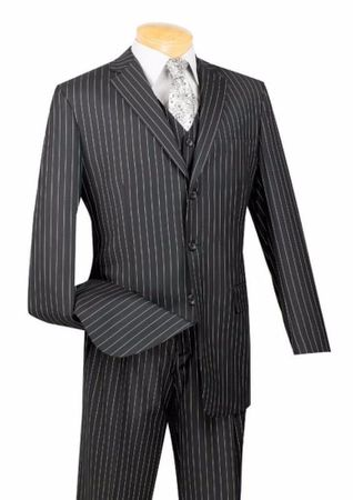 Vinci Mens Black Banker Pinstripe Three Piece Suit V3RS-9