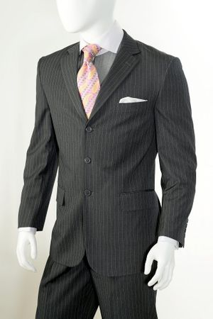 Vittorio St. Angelo Mens 3 Button Pinstripe Suit Gray A63ETS - click to enlarge