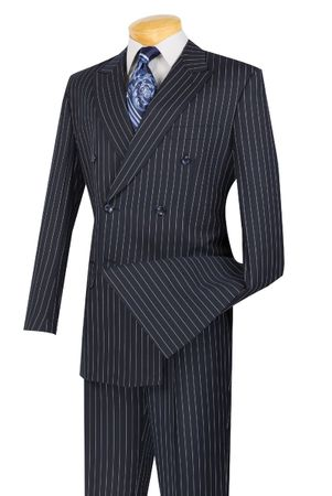 Mens Navy Stripe Double Breasted Suit DSS-4 Size 50L Final Sale