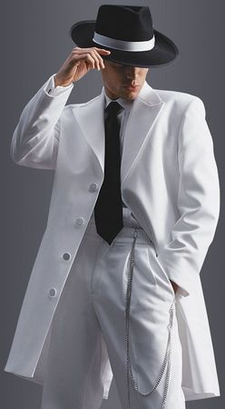 Mens White Zoot Suit Tuxedo by Fortini T903V - click to enlarge