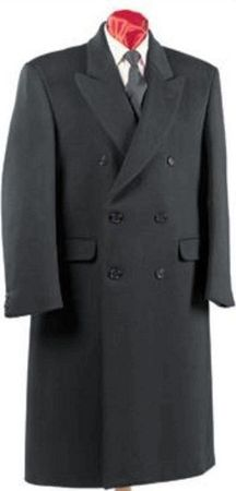 Men's Charcoal Double Breasted Wool Blend Overcoat Alberto DB-COAT - click to enlarge