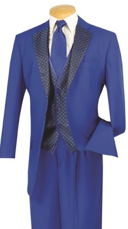 Vinci Mens Blue Fashion Party Suit 23PD-2 Size 42R Final Sale - click to enlarge