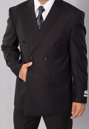 Lorenzo Bruno Men's Black Double Breasted Suit C602DB - click to enlarge