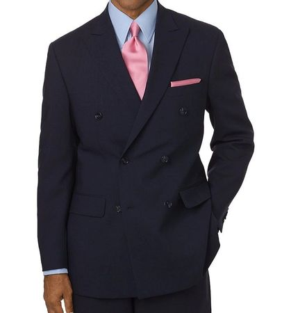 Men's Navy Double Breasted Suit Pleated Pants Wool Feel Vinci DC900-1