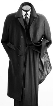 Vittorio St. Angelo Mens Black Full Length Wool Overcoat COAT06 IS - click to enlarge