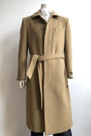 Mens Wool Belted Overcoat Camel Full Length Belt-Coat IS - click to enlarge