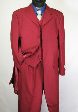 Vittorio St. Angelo Mens Burgundy 3 Piece Cuff Sleeve Zoot Suit T758TA  - click to enlarge