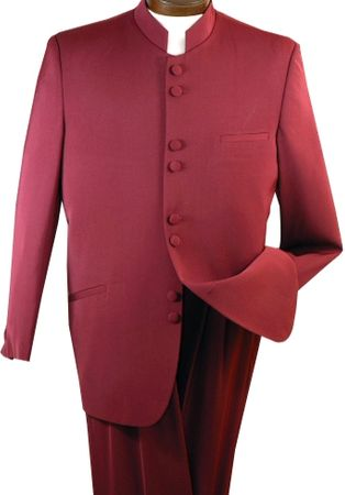Mens  Burgundy 8 Button Chinese Collar Style Suit Alberto M782GA