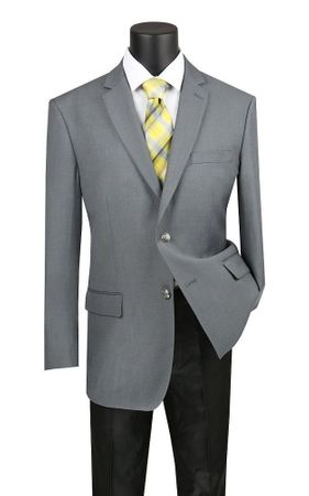 Mens Sport Coat Gray Metal Button Center Vent B-TR