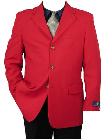 Vittorio St. Angelo Mens Classic 3 Button Blazer Red Z73TA - click to enlarge