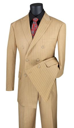 Men's Camel Stripe Double Breasted Suit Vinci DSS-4
