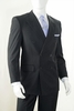 Vittorio St. Angelo Mens Black Pinstripe Double Breasted Suit B662TRS
