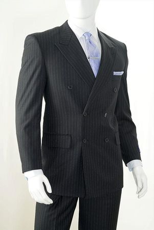 Vittorio St. Angelo Mens Black Pinstripe Double Breasted Suit B662TRS - click to enlarge