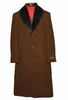 Men's Fur Collar Overcoat Brown Wool Full Length Alberto