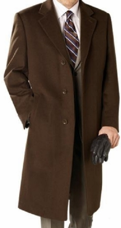 Mens Winter Coat Brown Wool Full Length Alberto Coat03 - click to enlarge
