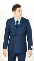 Lorenzo Mens Navy Blue Plaid Double Breasted Suit M662WD