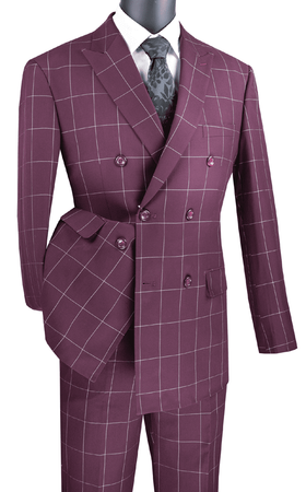 Double Breasted Suit Modern Fit Wine Windowpane Vinci MDW-1