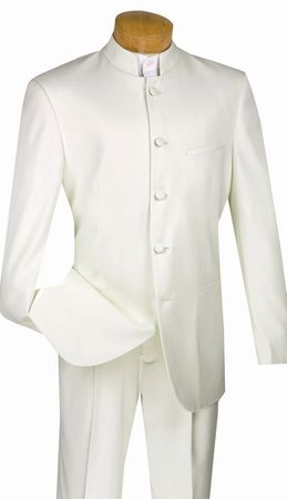 Men's Ivory Chinese Collar Suit By Vinci 5 Button N5HT - click to enlarge