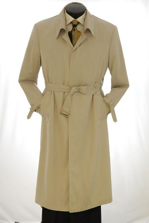 Vittorio St. Angelo Mens Khaki Belted Trench Coat COAT05 IS - click to enlarge