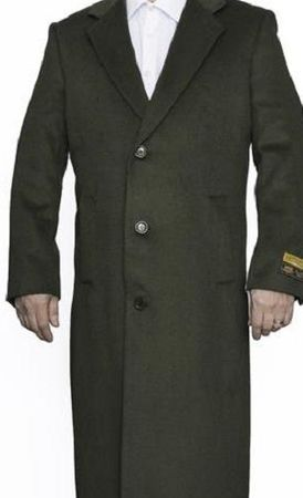 Mens Winter Olive Black Wool Full Length Alberto Coat03 - click to enlarge