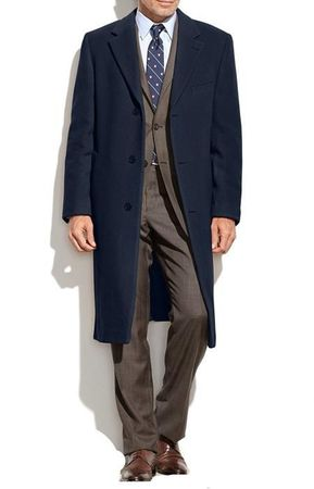 Mens Navy Cashmere Feel Overcoat Knee Length COAT03 IS - click to enlarge