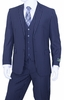 Mens Pinstripe Suit Navy Blue 3 Piece by Vittorio T62RS