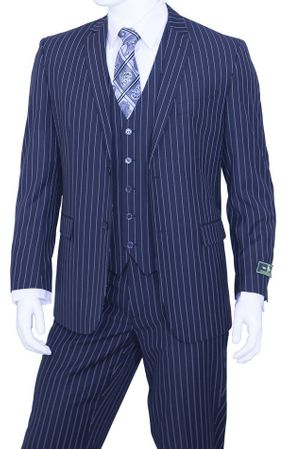 Mens Pinstripe Suit Navy Blue 3 Piece by Vittorio T62RS - click to enlarge